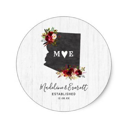 Arizona State Destination Rustic Monogram Wedding Classic Round Sticker - wood gifts ideas diy cyo natural