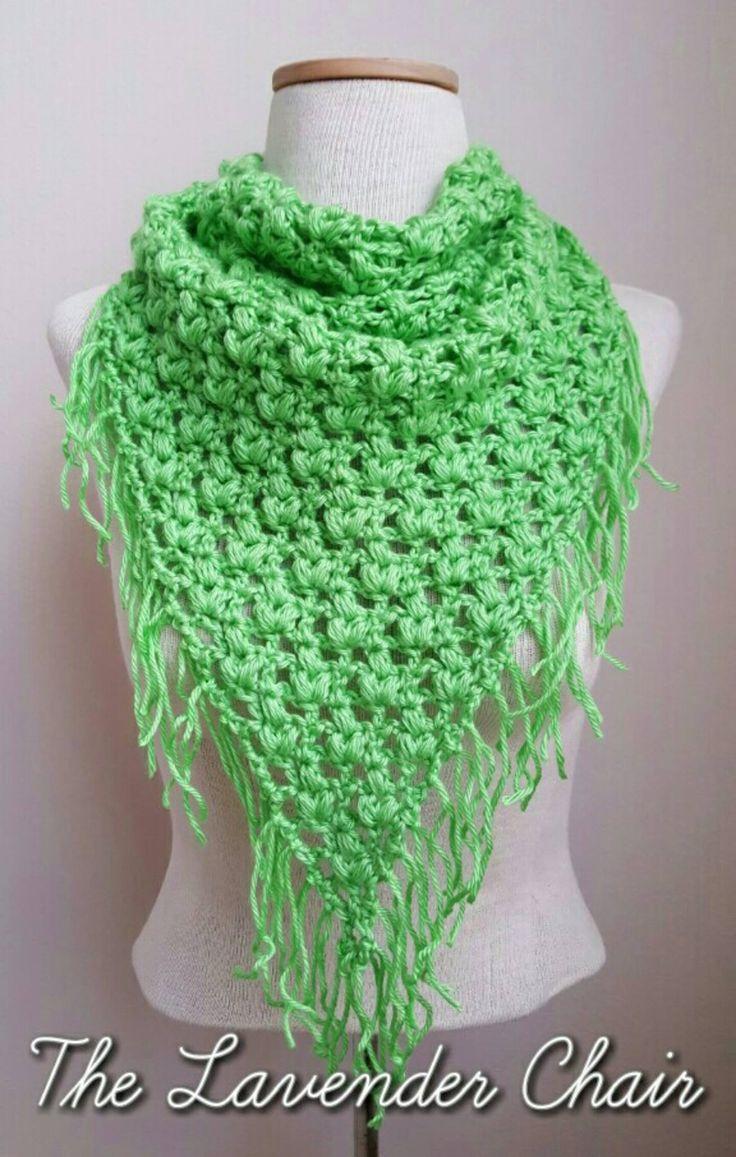 Clover Puff Triangular Scarf - Free Crochet Pattern - The Lavender Chair