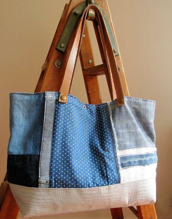 Patchwork style bag sac cabas blue and wite polka por LAMILAcanvas2