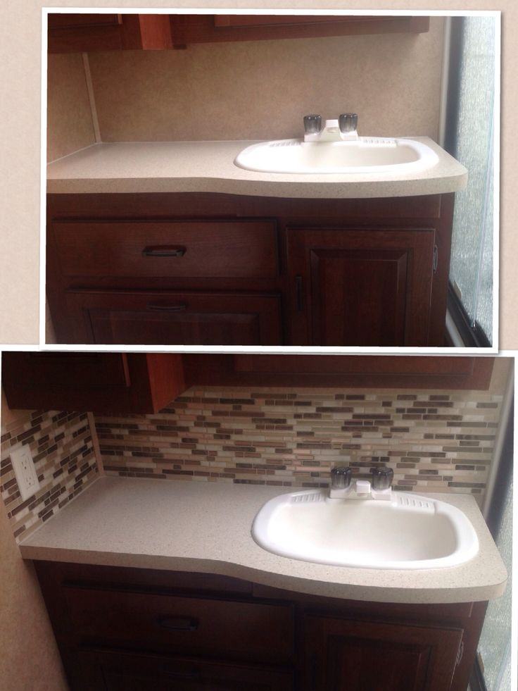 "Before & After RV Backsplash mod using ""Smart Tiles"" peel & sticks!  Love the look...next project, Faucet!"