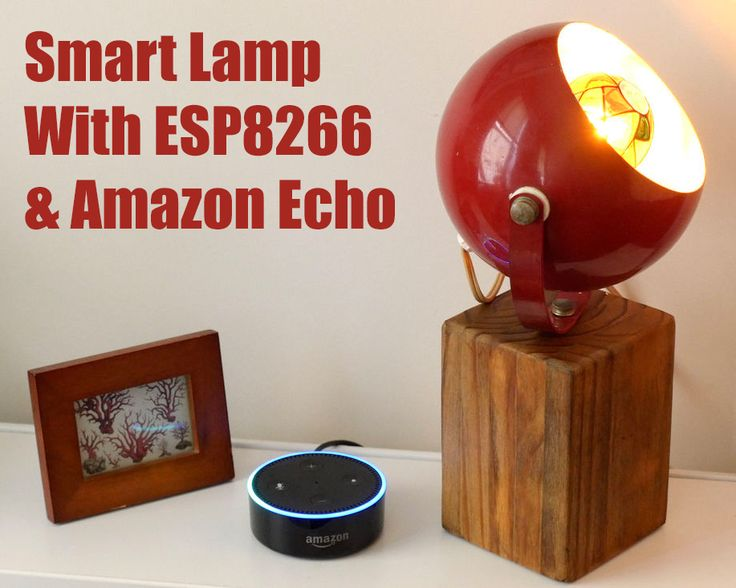 Upgrade a vintage lamp with voice-control using an ESP8266 microntroller and Amazon Echo/Alexa. The Arduino code emulates a Belkin WeMo device using the fauxmoESP library, which makes setup a breeze.