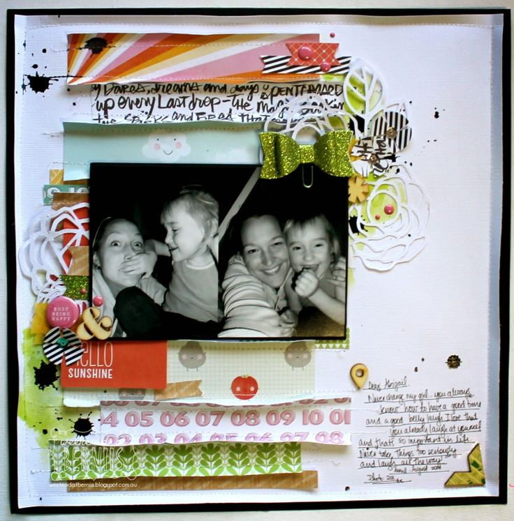 A weekend with Bernie.. Super fun layout! Love the glittery green bow, white die cuts, and folded paper!! Awesome fun details.