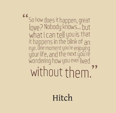 Will Smith plays the super-smooth love coach Alex 'Hitch' Hitchens in this 2005 RomCom. This quote opens the film and sets the whole fun and romantic tone of the movie. #hitch #quotes