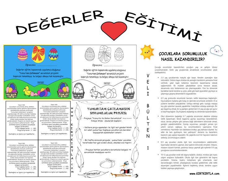 Değerler eğitimi kapsamında uygulanan Yumurtam Çatlamasın Sorumluluk projesi dökümanlarına ulaşmak isteyenler www.KIRTKIRTLA.com adresini ziyaret edebilirler.