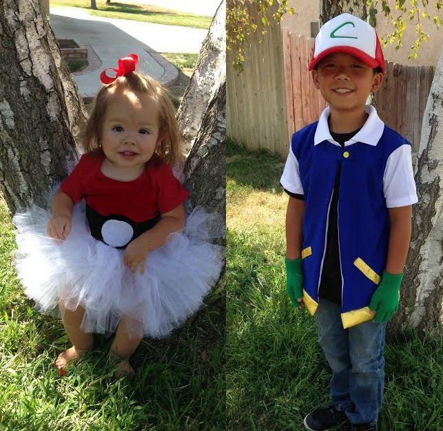 Coordinated Halloween Costumes For Twins, Triplets, and Siblings Ash and Pokéball Ash and his Pokéball ($39) are going to go out and catch all of the candy together!