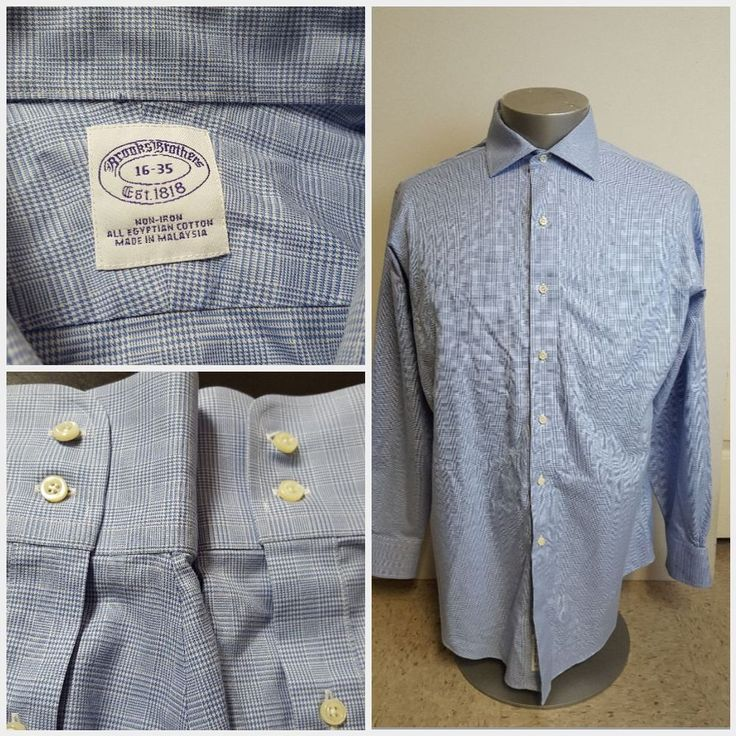 Brooks brothers non iron checkered dress shirt 16 35 100 for 100 egyptian cotton shirts