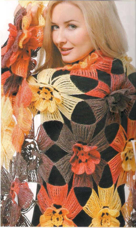 Crochet Woman Warm Shawl  Red Orange Yellow Flowers - Free Shipping ETSY