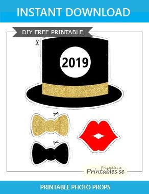 Photo Booth Props New Years Eve 2019 Free Printable For New Years