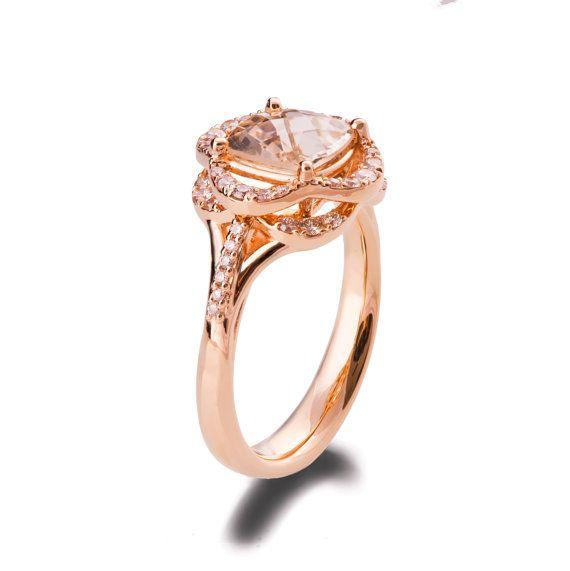 Morganite Engagement Ring 18K Rose Gold Flower Ring Unique