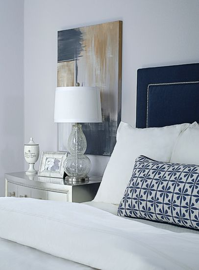 Gray And Navy Bedroom | , metallic silver nightstand, navy upholstered headboard, purple-gray ...
