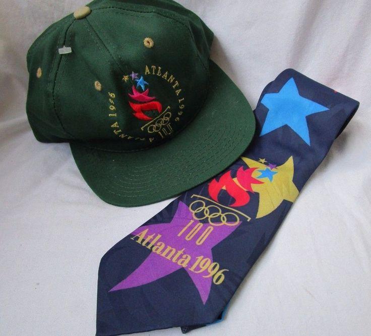 Vintage Set of ATLANTA OLYMPIC 1996 Ball Cap SNAP BACK Green Hat & Neck Tie 2 pc #TheGame