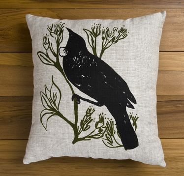 Gorgeous Tui Cushion by The Vinyl Room artist Ingrid Anderson