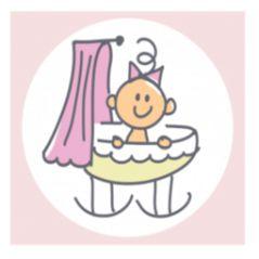 Geboortekaart vierluik met meisje in verschillende posities. Vrolijke getekende kaartje met vier luikjes voor een pasgeboren meisje. Met daarop de baby die op leuke posities zit, in een wiegje of op de fiets bijvoorbeeld.