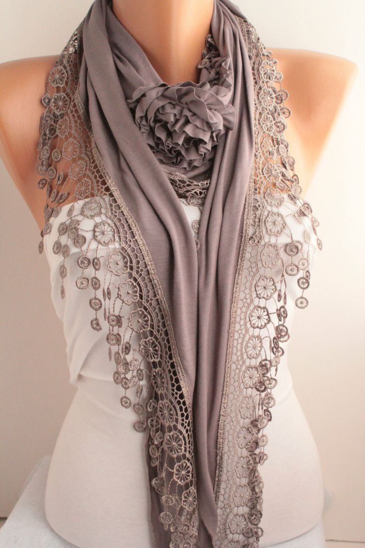 Grey Jersey Rose Shawl/ Scarf  Lace Scarf Headband Cowl by DIDUCI, $21.00