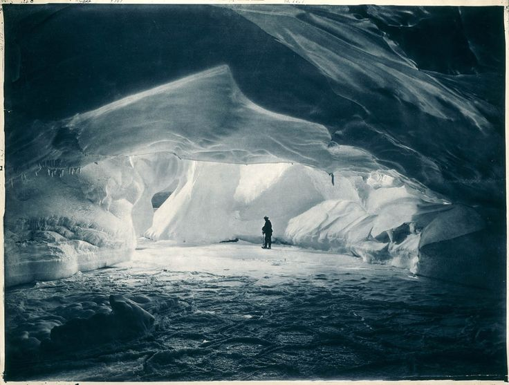 Ice cave near Commonwealth Bay, Antarctica. First Australasian Antarctic Expedition, 1911-1914.