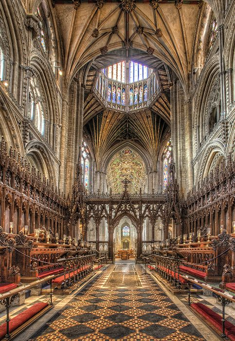 Ely Cathedral Choir Looking west. Ely Cathedral, Cambridgeshire, UK built from 1083-1375