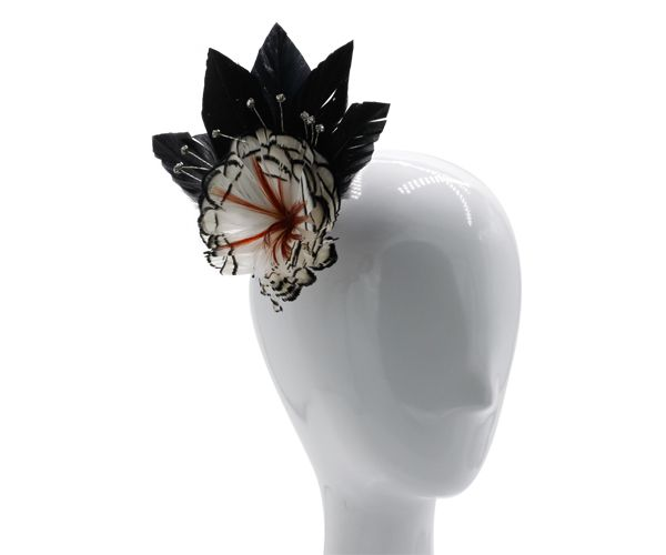 Black, white and brown feather fascinator