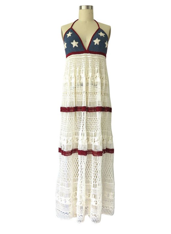 Made to Order  Halter Dress in Miss American Pie  by onceoverTWICE, $115.00