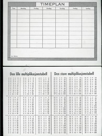 Timeplan med multiplikasjonstabell