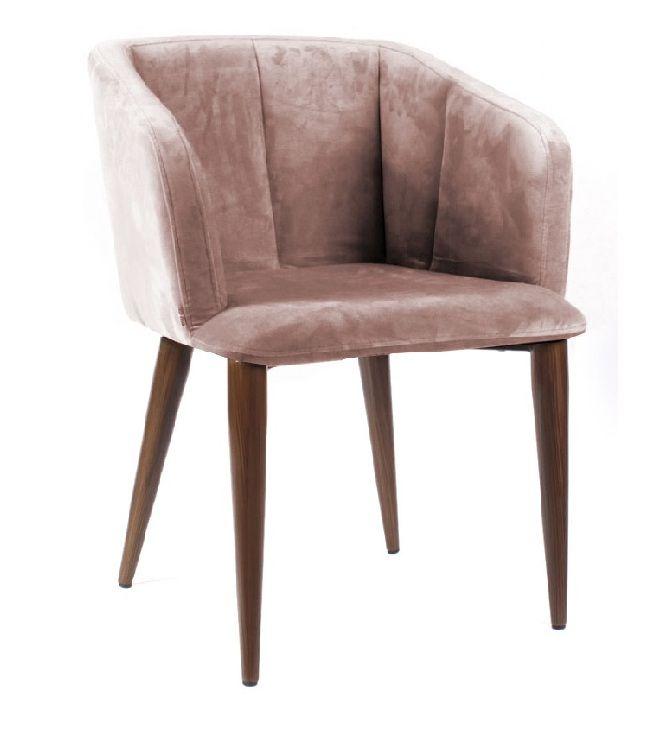 Кресло дизайнерское Базель серо-розовый бархат