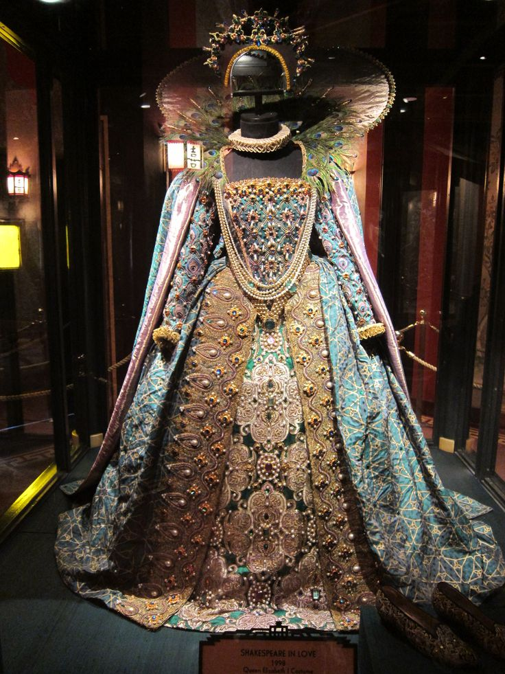 A beautiful gown, the 'Peacock gown' from the film Shakespeare in Love, a favorite movie of mine. Worn by Judi Dench in the role of Elizabeth I, Queen of England.