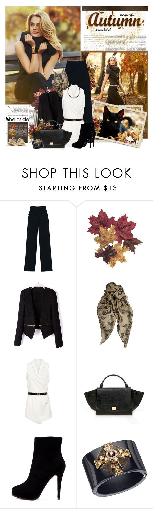 """""""Black & Chic"""" by violetta-valery ❤ liked on Polyvore featuring Paul & Joe, Bullet, Alexander McQueen, MANGO, Lacoste, Swarovski, ankle boots, wide leg trousers, white and sheinside"""