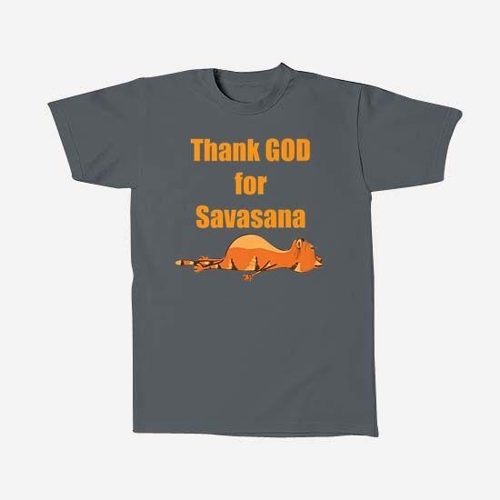 Yoga Cat - Thank God for Savasana - oleh Fncwellbeing T-Shirts for your wellbeing. #yoga #fncwellbeing #funny #cat #namaste fncwellbeing.com