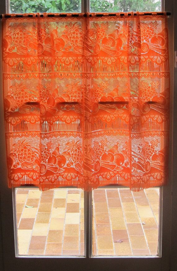 Orange French Lace Valance, Kitchen Cafe Curtains, Vegetables