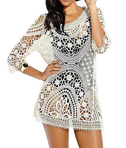 5bc6c7c34fbfc Bestyou Women's Tie Back Tunics Crochet Lace Tops Halter Knit Dresses Sexy  Bikini Swimsuit Cover up Beachwear #swimwear #cardigan #beachwear