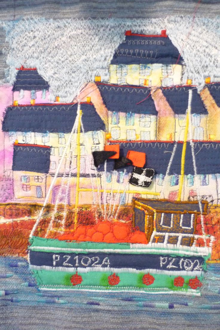 Textile from a painting I did called the dancing crab based on Mevagissey,Cornwall