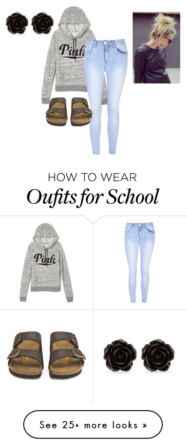"""Lazy School Day"" by photogeekgirl on Polyvore featuring Victoria's Secret, Glamorous, Birkenstock and Erica Lyons"
