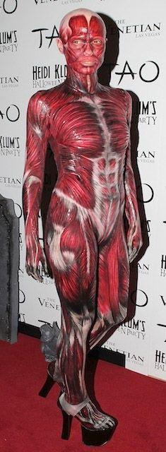 Heidi Klum's Skinless Body look for Halloween, 2011