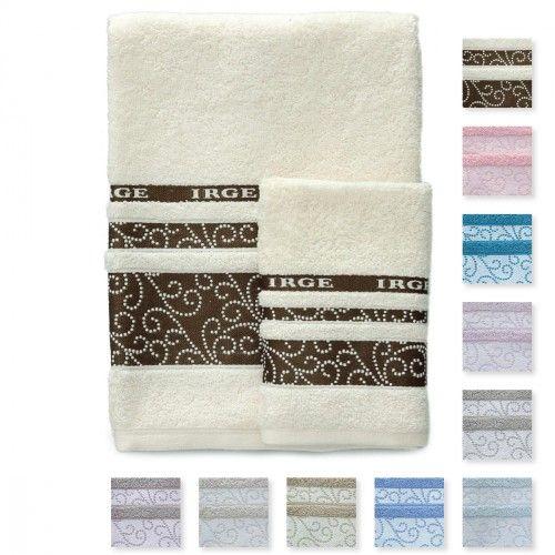 #carillopin Set Irge asciugamani Viso + Ospite 100% spugna di cotone art. Carmen M270