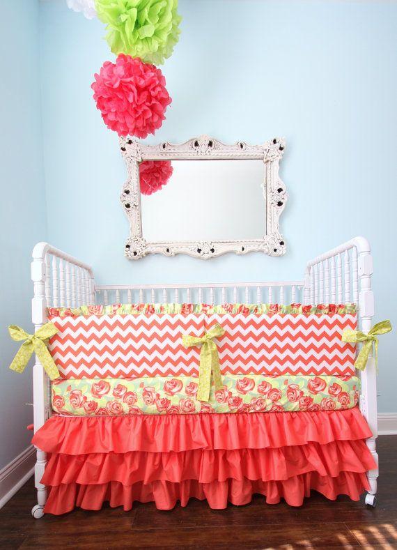 Designer Coral Chevron Crib Bedding by AlainaCerise on Etsy, $299.00