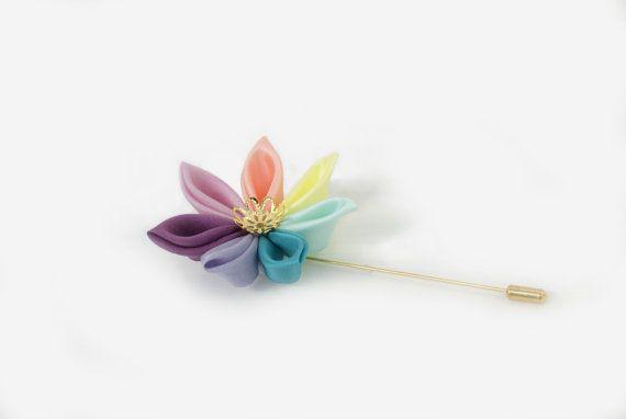 Rainbow Wedding Lapel Pin  Mens Wedding by cuttlefishlove on Etsy, £12.00