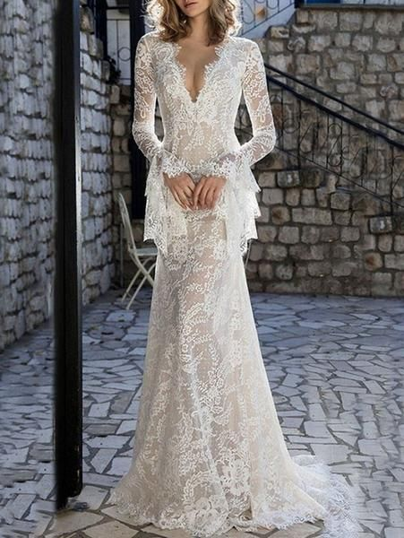 f6313ea77d9 Lace Flared Sleeves V-back Evening Dress in 2019