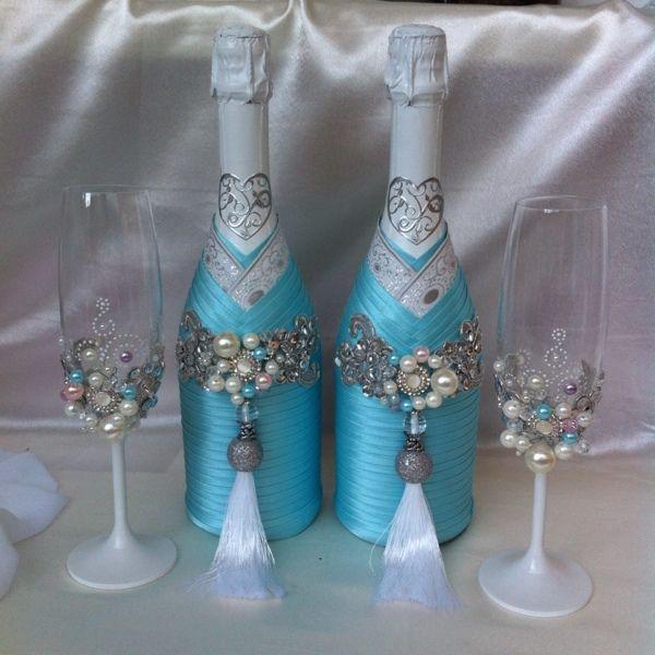 """Купить Украшение бутылок из коллекции """"Голубые мечты"""" - свадебный декор, свадебные аксессуары"""