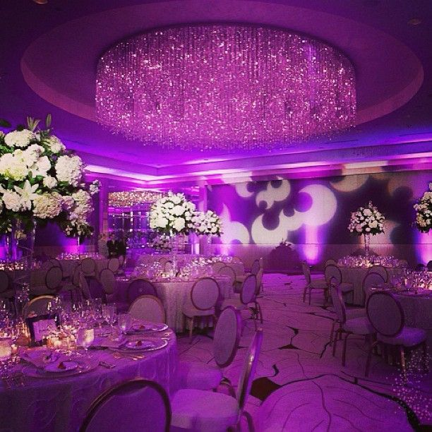 Purple Wedding Reception With White Centerpieces At Ritz Carlton Fort Lauderdale Florida Lighting By Illumene