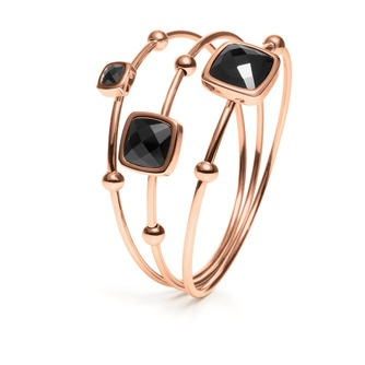 Jewellery - ELEMENTS BANGLE SET - Rose gold IP plated 3 pieces set bangles with black crystal stones