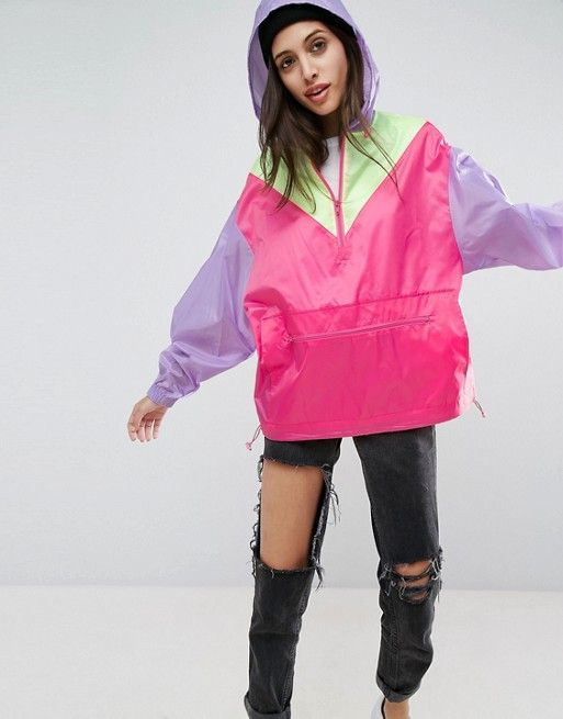 ASOS Over the Head Rainmac in Color Block
