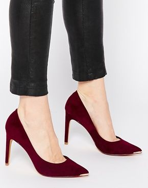 Ted Baker Neevo 4 Dk Purple Suede Patent Heeled Court Shoes