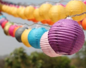 Solar Mixed Colours Mini Round Paper Lanterns Fairy Lights 8 Meters Outdoor Lights