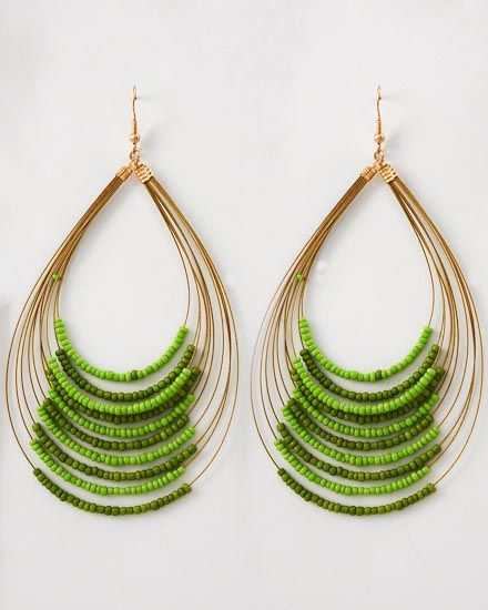 Zuri Olive Beaded Earrings // Got my mom's ols stash of seed beeds!