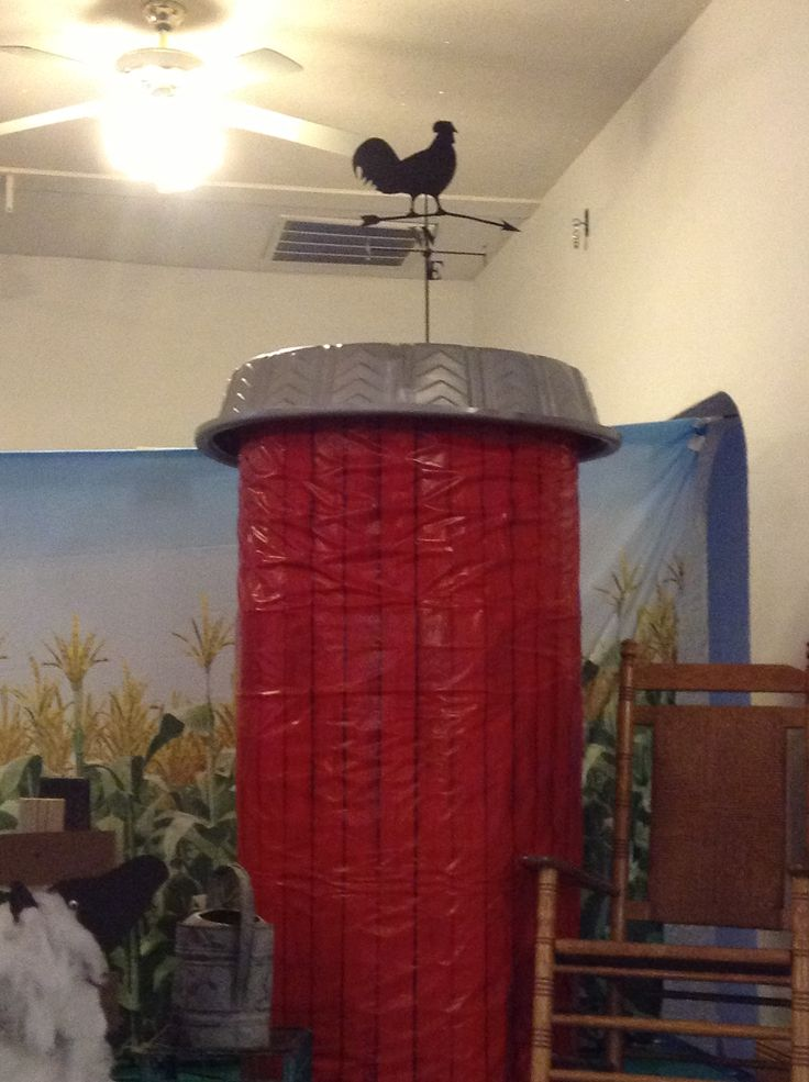VBS silo made from kids swimming pool for top and fence wrapped for bottom.
