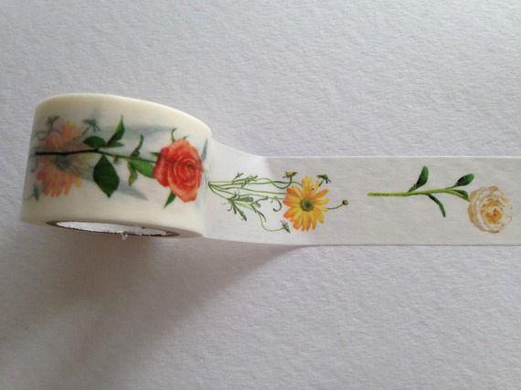 "Washi masking tape ruban adhésif  ""fleurs"" 3cm x 10 mètres"
