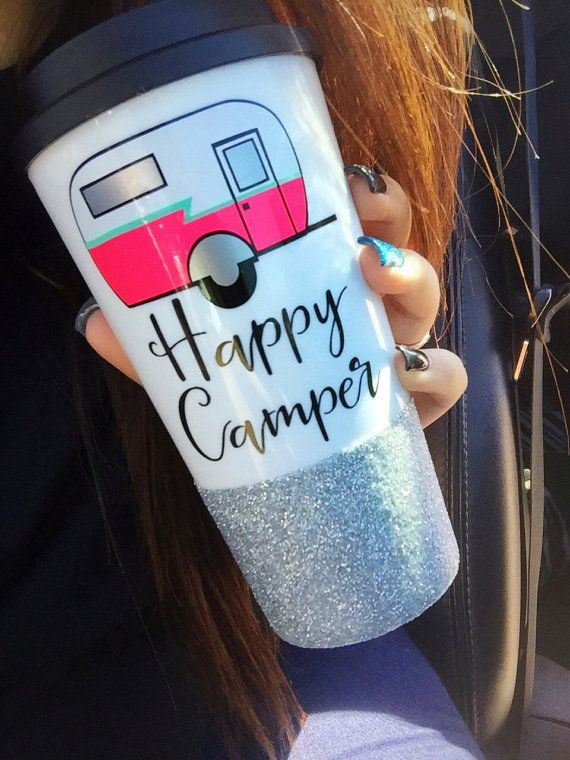 Happy Camper Coffee Tumbler / Glitter Dripped / Glitter Dipped Coffee Cup / Travel Trailer Coffee Cup