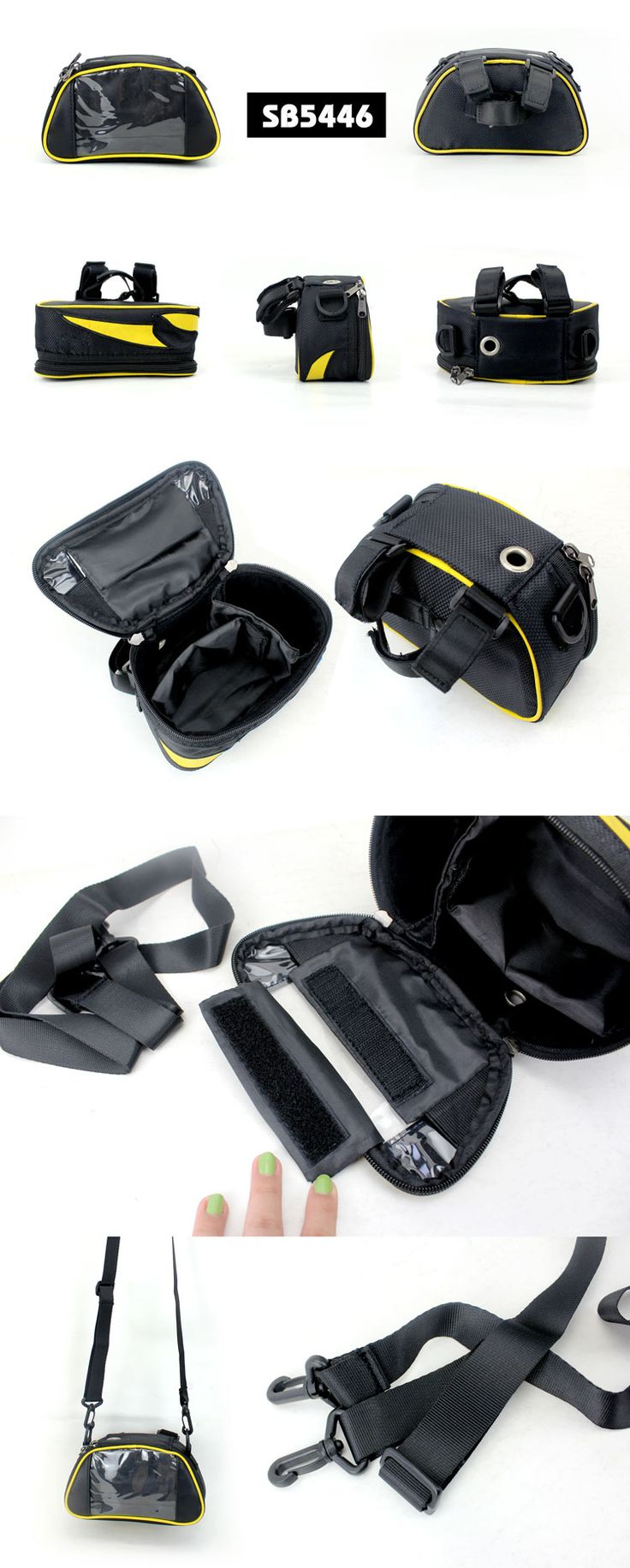 Bicycle bag with phone holder  Description:        ● Material:840D/with PU dobby fabric    ● Size:19*11*8.5CM    ● Big logo printing area    ● OEM design is welcome www.ideagroupigm.com