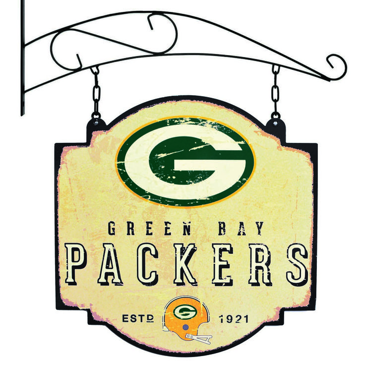 """This 16"""" x 16"""" metal sign is printed on both sides with Green Bay Packers logos and has been made to look like an old fashioned tavern sign. It comes with a bracket that allows the sign to be hung, or you can ignore the bracket and affix the sign directly to a wall."""