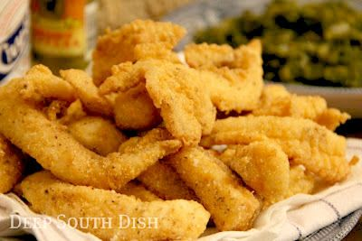 Southern Fried Catfish - Deep fried thin crispy strips of catfish, coated in a mixture of corn meal and flour, are a true deep south favorite.