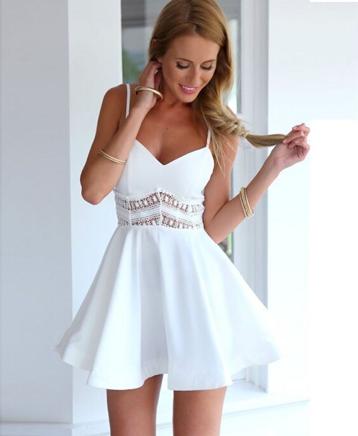 Mini Skater Peek-a-Boo Lace Trim Dress With Exposed Silver Zipper